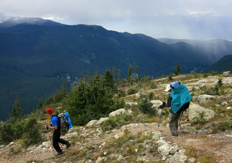 Hikers on the Trail near Whistler stock image