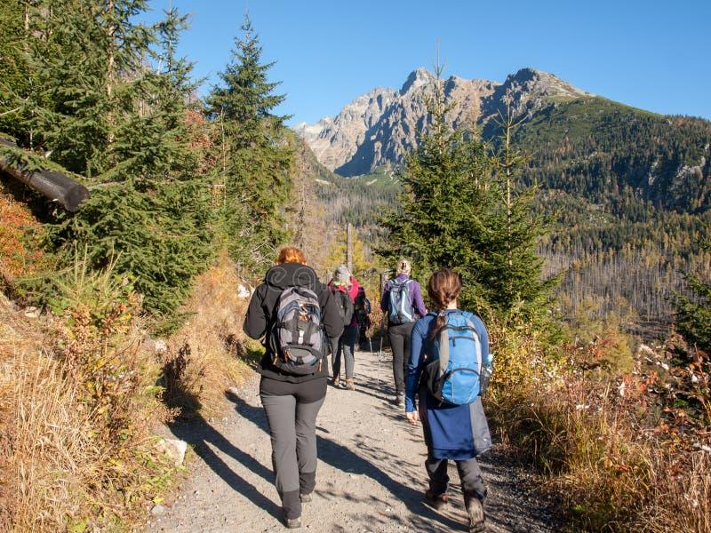 Hikers on trail at Valley of Five Spis Lakes. High Tatra Mountains, Slovakia. Vysoke Tatry, Slovakia - October 11, 2018: Hikers on trail at Valley of Five Spis stock photo