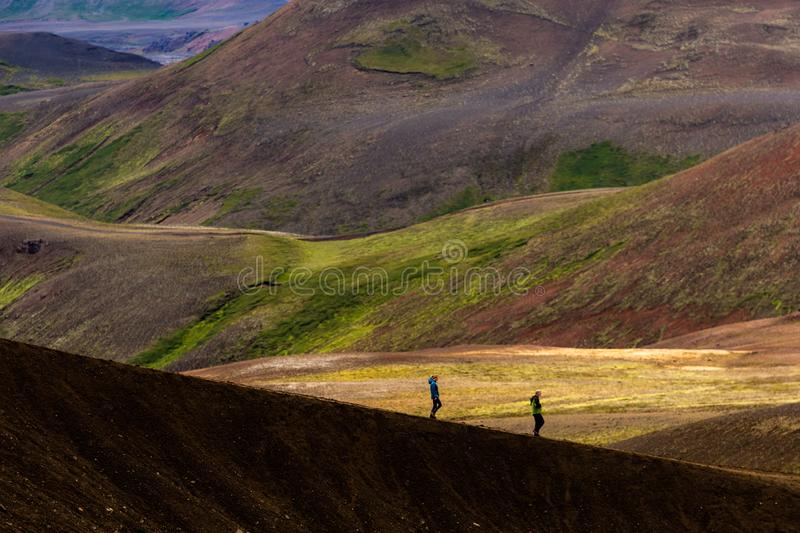 Hikers in iceland stock images