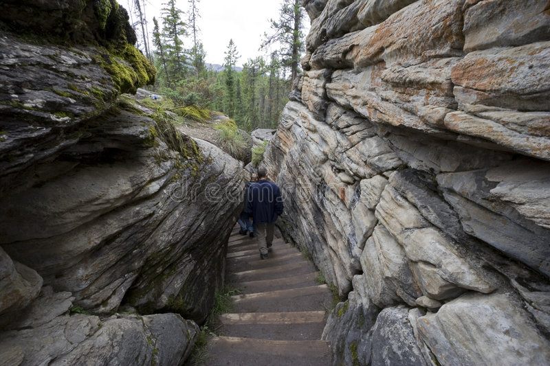 Download Hikers Walking Downstairs In The Dry Riverbed Of A Stock Image - Image: 6151661