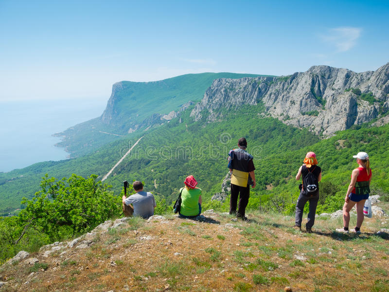 Download Hikers watch the terrain stock image. Image of recreational - 24735205