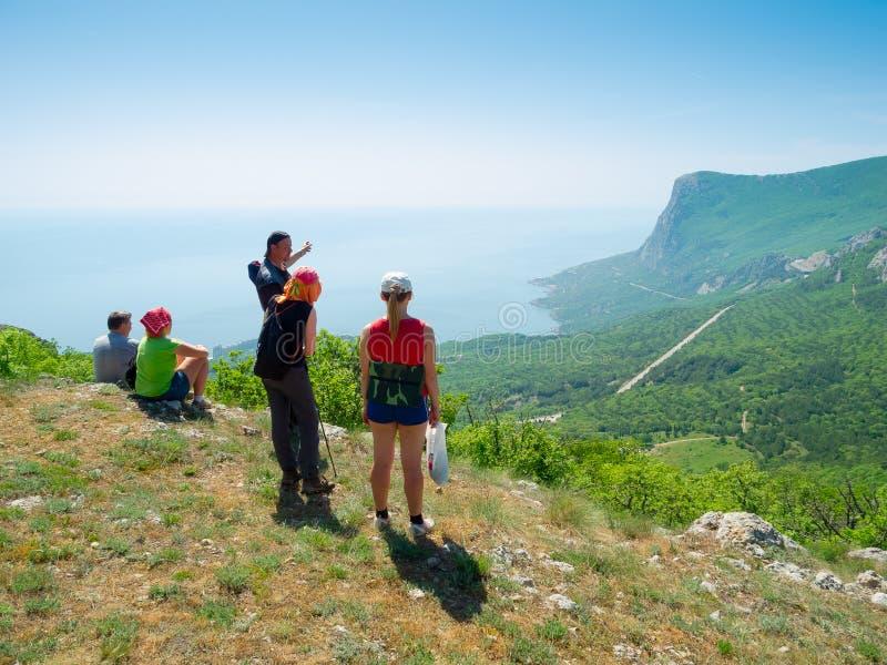 Download Hikers watch the terrain stock image. Image of peak, halt - 27677545