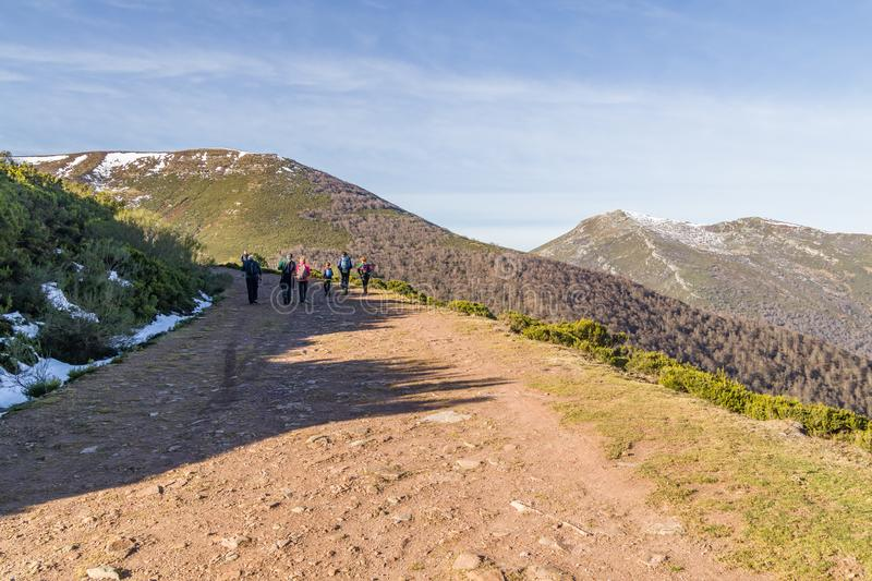 Hikers way to high mountains stock image