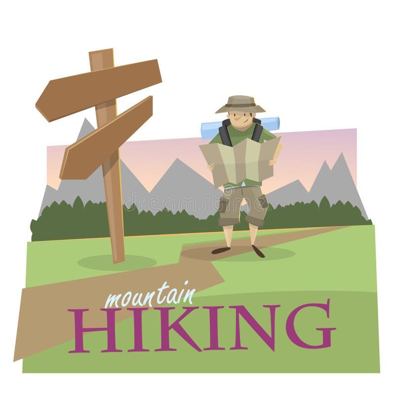 hiking Ориентация в природе бесплатная иллюстрация