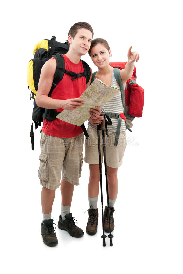 Hiking. Couple of teenagers finding a route. Isolated on white background royalty free stock images