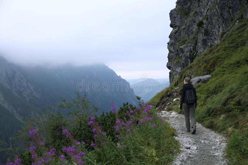 Hiking across Tatras mountains stock images