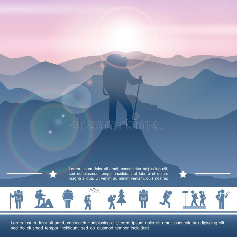 Hiking Activity Concept royalty free illustration