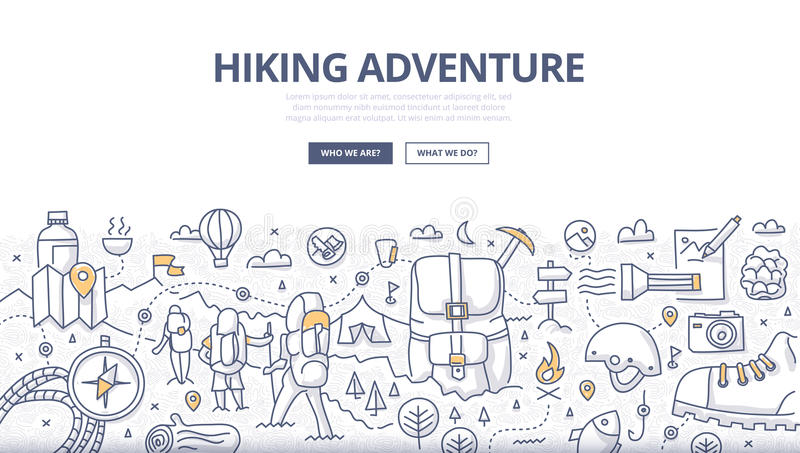 Hiking Adventure Doodle Concept vector illustration