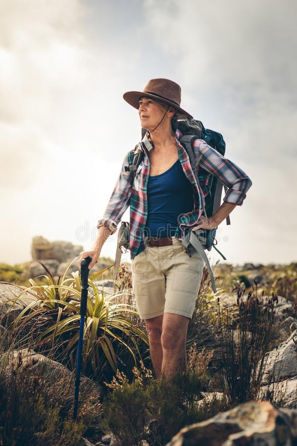Hiking for adventure and fitness for all ages stock photos