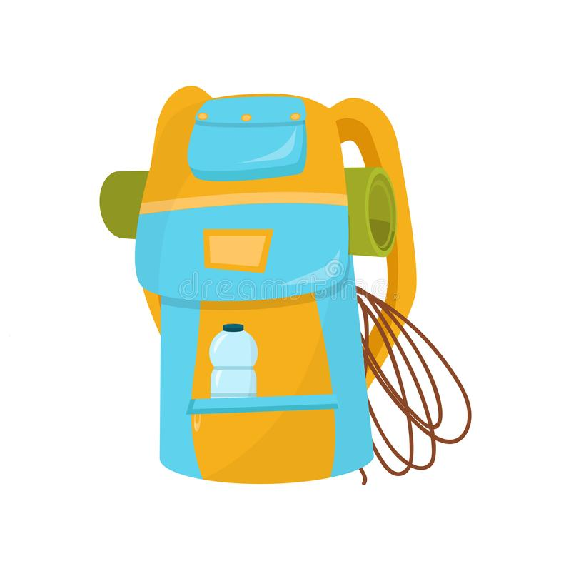 Free Hiking Backpack With Rope, Camping Mat And Bottle Of Water In Pocket. Bright Blue-yellow Bag For Adventurer. Flat Vector Stock Photos - 117610593