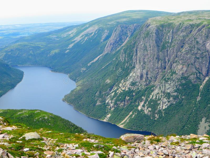 Hiking in beautiful Gros Morne National Park atop Gros Morne Mountain in Newfoundland and Labrador, Canada royalty free stock image