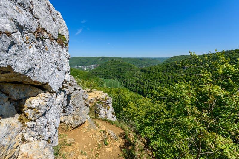 Hiking in beautiful landscape of Bad Urach, Swabian Alb, Baden-Wuerttemberg, Germany, Europe royalty free stock images