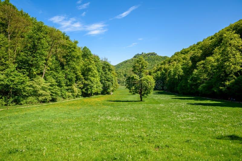 Hiking in beautiful landscape of Bad Urach, Swabian Alb, Baden-Wuerttemberg, Germany, Europe stock photography