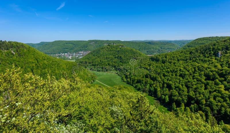 Hiking in beautiful landscape of Bad Urach, Swabian Alb, Baden-Wuerttemberg, Germany, Europe stock images
