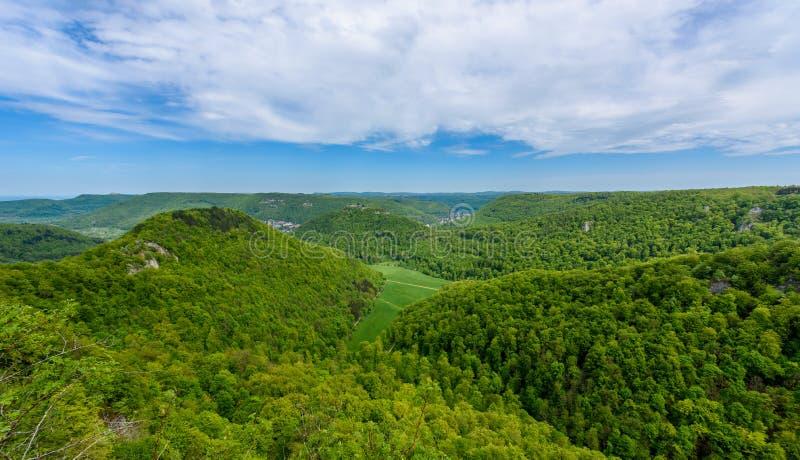 Hiking in beautiful landscape of Bad Urach, Swabian Alb, Baden-Wuerttemberg, Germany, Europe royalty free stock photography