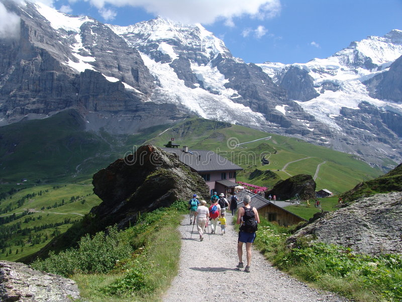 Hiking in the Bernese Oberland Mountains royalty free stock images
