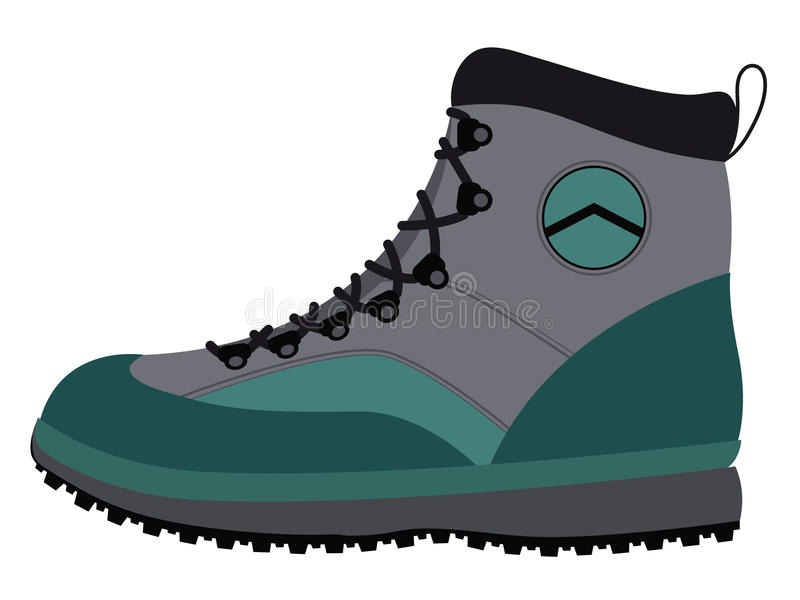 Hiking boot. Side view of a sturdy hiking boot with a durable rubber sole and laces for hiking, trekking, mountain climbing and backpacking for the adventure vector illustration