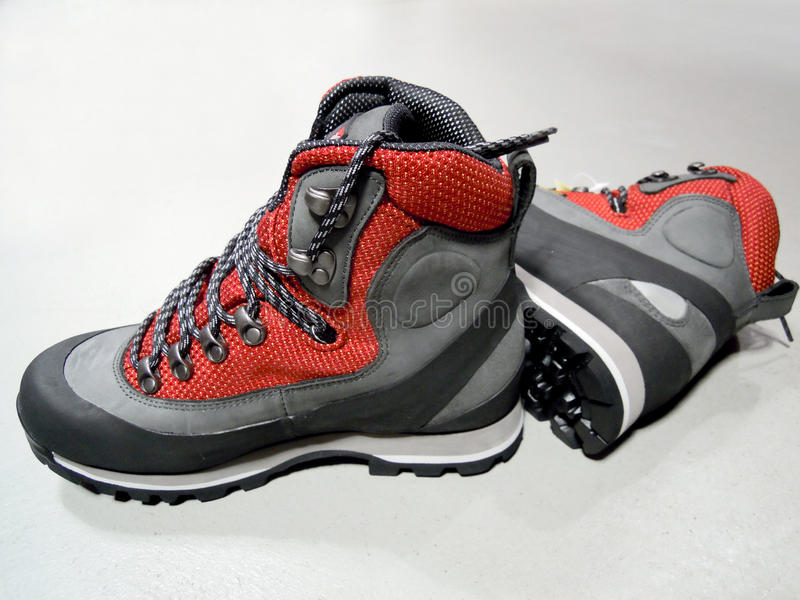 Hiking boots. For walking in the mountains stock images