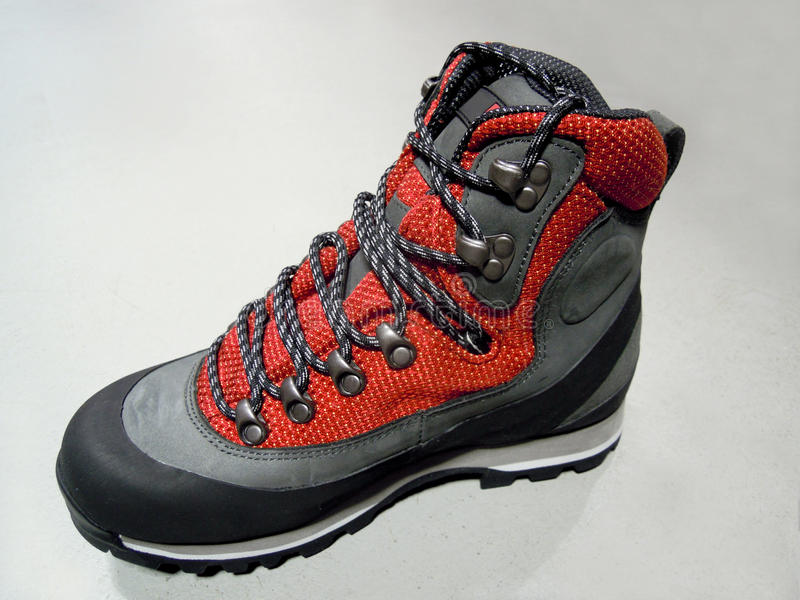 Hiking boots. For walking in the mountains stock photo
