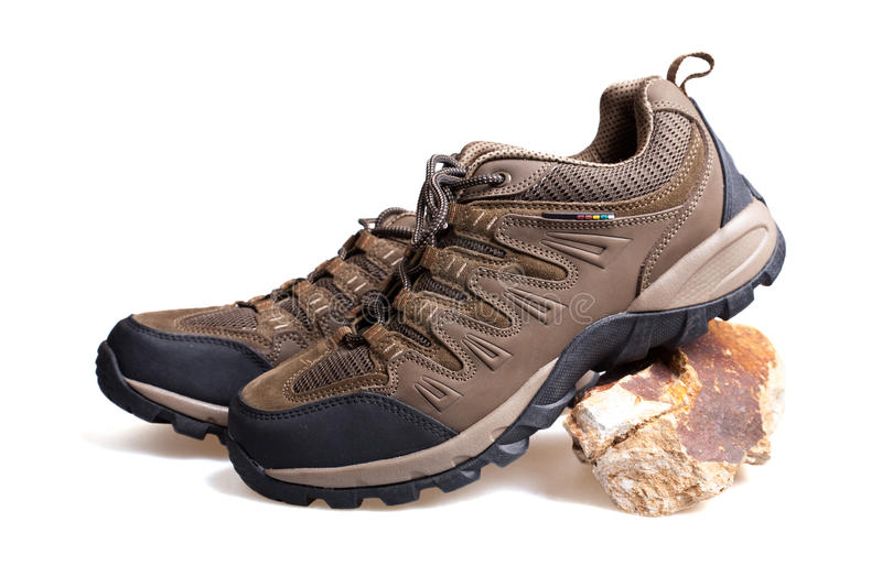 Hiking boots. On white background stock photography