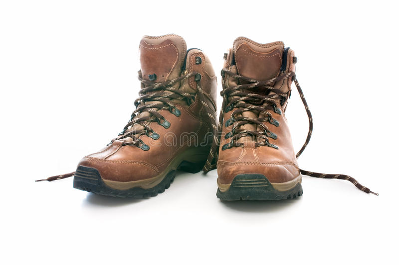 Hiking boots. Pair of the hiking boots royalty free stock photos