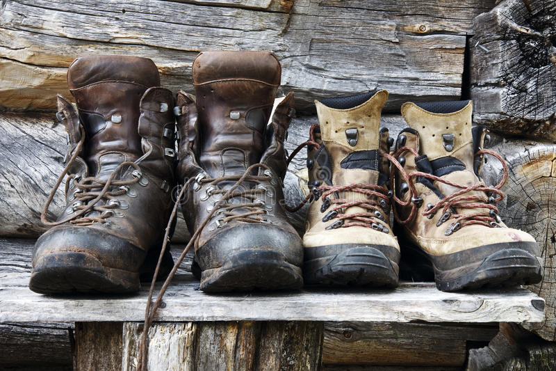 Hiking Boots. Dirty hiking boots after a long day trough the Femundsmarka National Park in Norway royalty free stock photography
