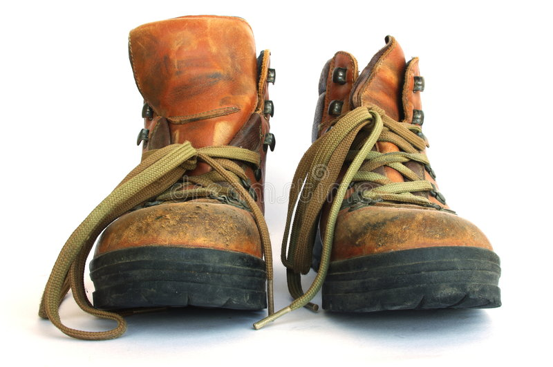Hiking Boots. Sturdy, well worn leather hiking boots stock photography