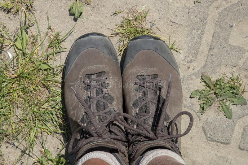 Hiking boots from above. Ready to walk stock image