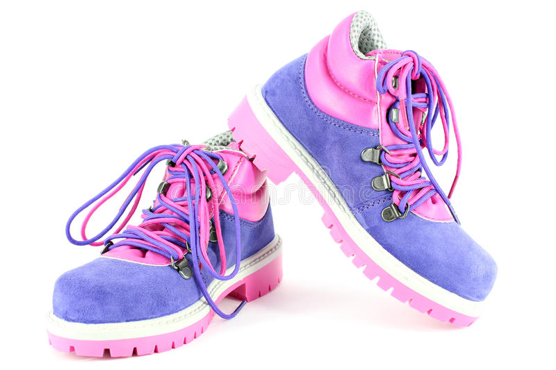 Hiking boots for children stock photography