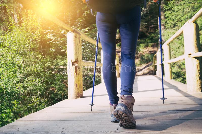 A hiking boots. Hiking boots close-up. girl tourist steps on a wooden trail stock image