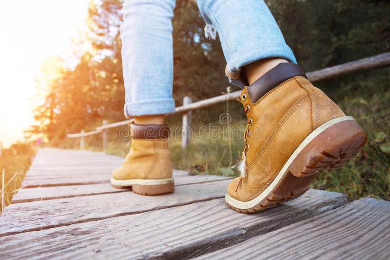 Hiking boots. Close-up. tourist walking on the trail. Italy stock images