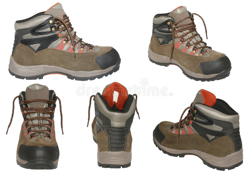 Hiking boots isolated. stock image