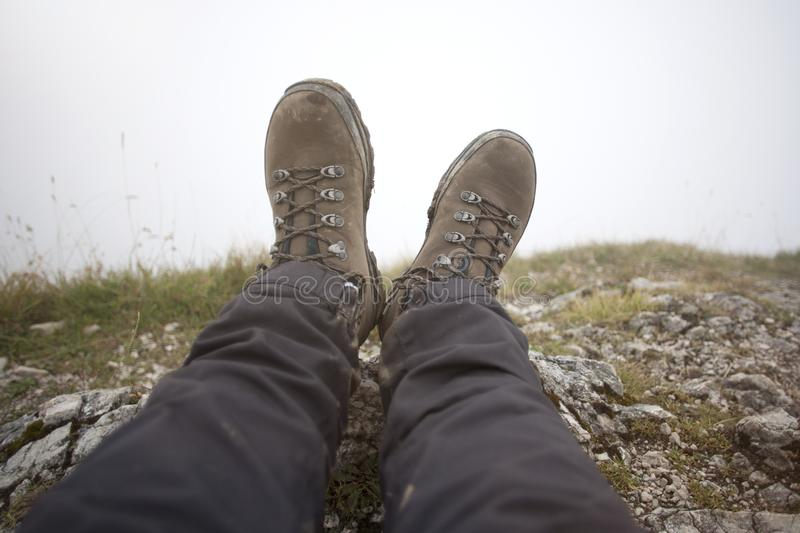 Hiking boots on a mountain tour. In Bavarian Alps royalty free stock photography