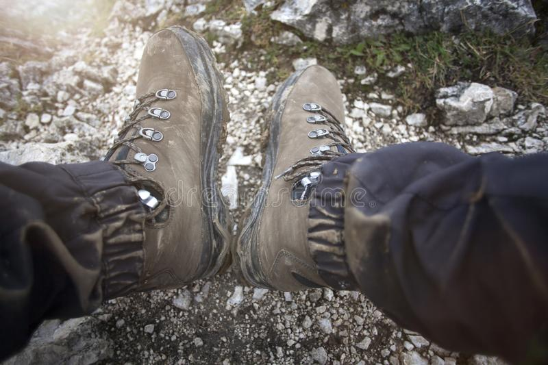 Hiking boots on a mountain tour. In Bavarian Alps royalty free stock photo