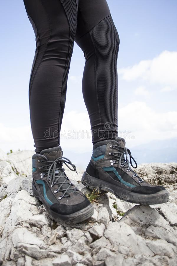 Hiking boots on a mountain tour. In Bavarian Alps stock photos