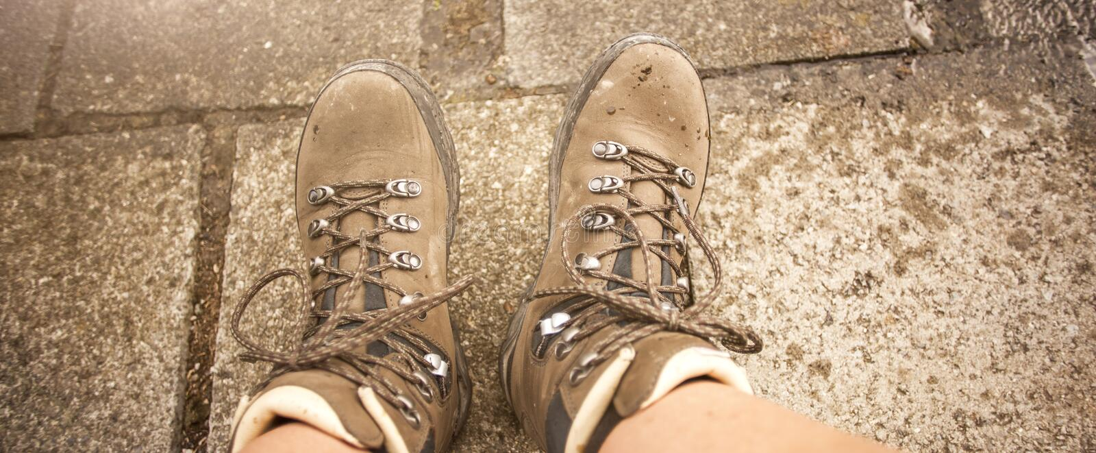 Hiking boots on a mountain tour. In Bavarian Alps royalty free stock photos