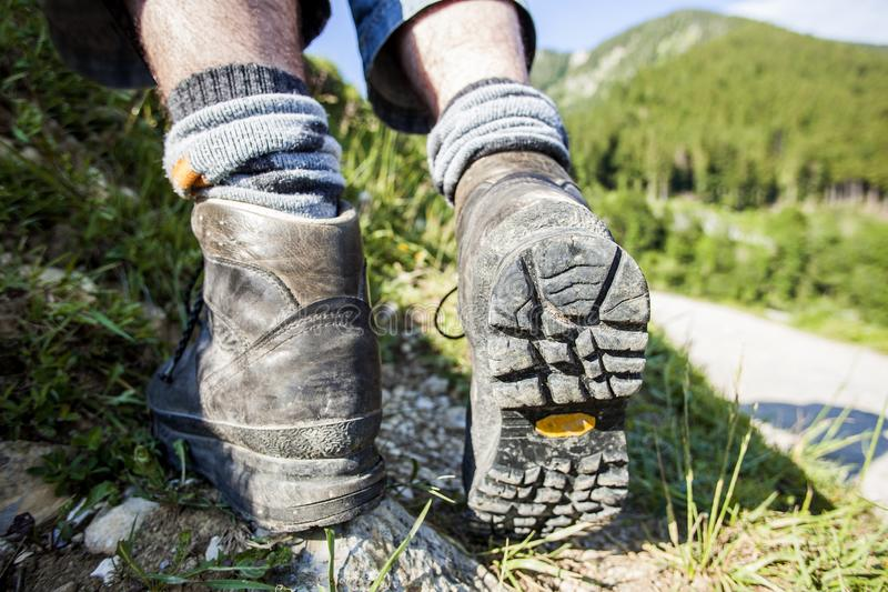 Hiking boots on a mountain tour. In Bavarian Alps royalty free stock images
