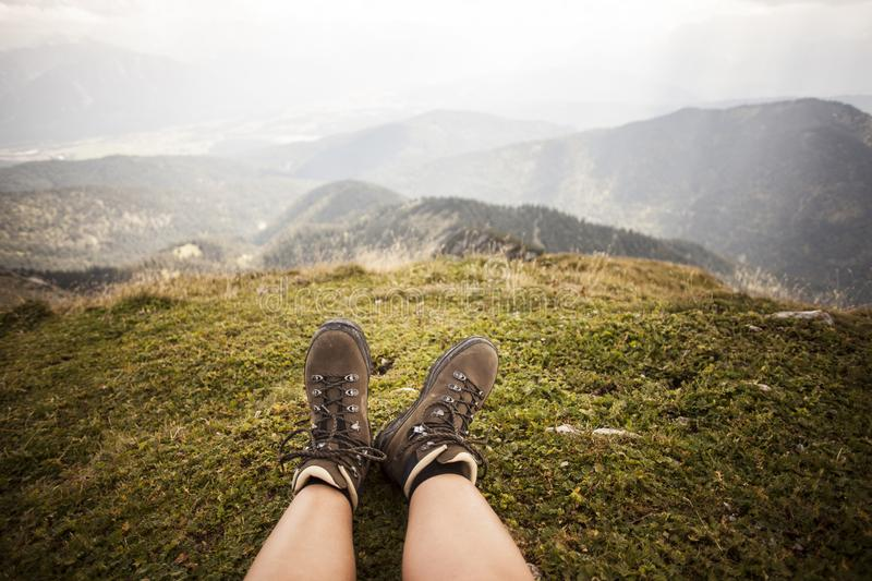 Hiking boots on a mountain tour. In Bavarian Alps royalty free stock image