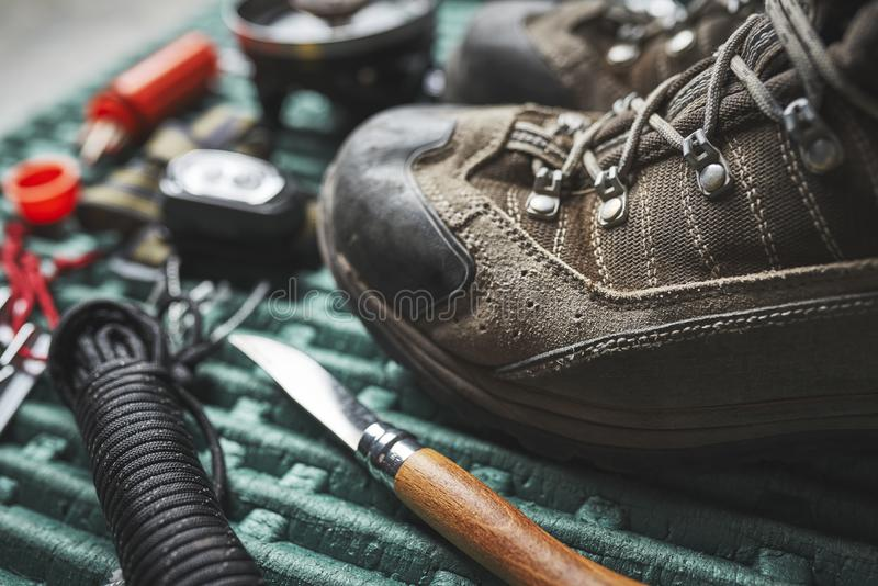 Hiking boots and other gear stock photos