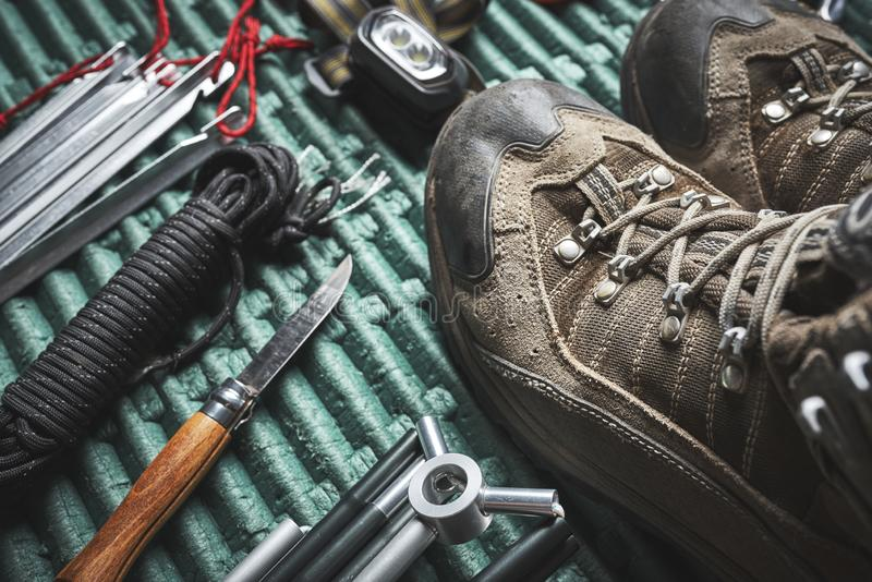 Hiking boots and other gear royalty free stock photos