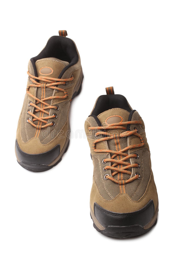Hiking boots. On white background royalty free stock photo