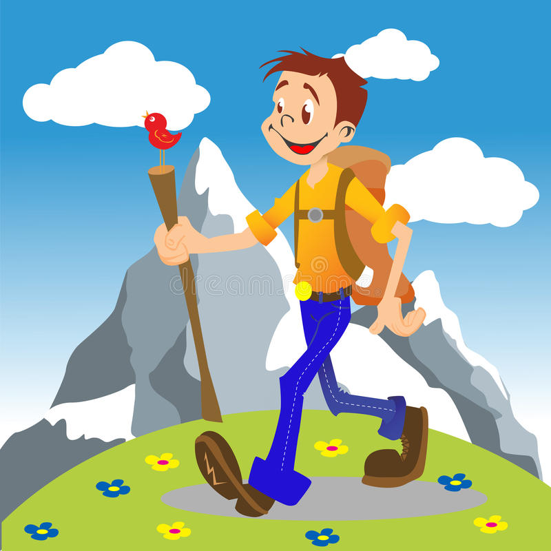 Hiking boy royalty free illustration