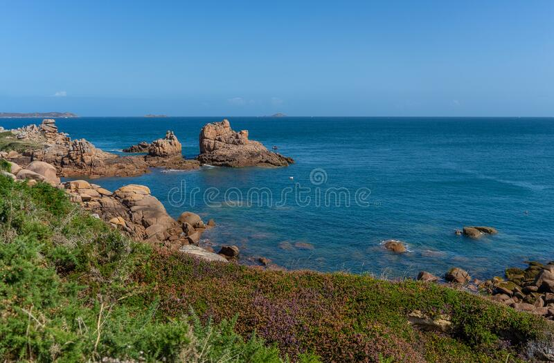 Hiking on bretagne cotes d`armor coast stock photography