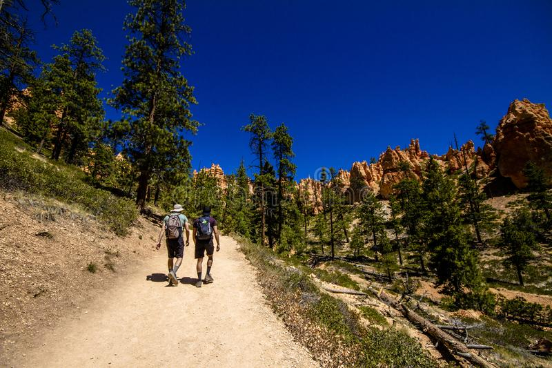 Hiking in Bryce Cannyon royalty free stock photo