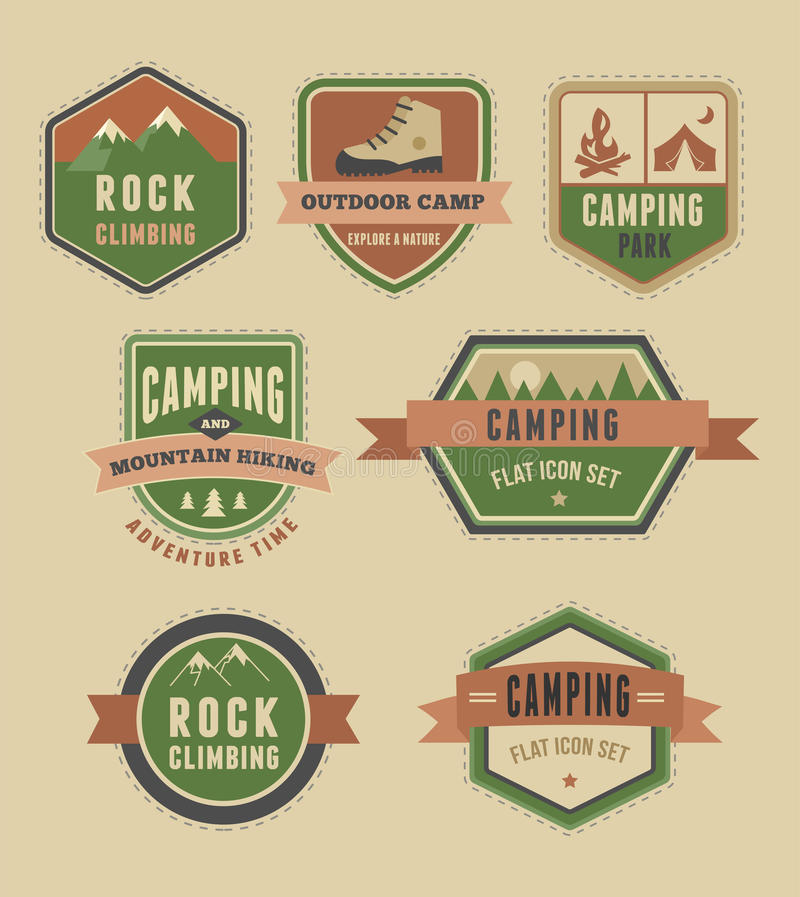 Hiking, camp badges - set of icons and elements vector illustration