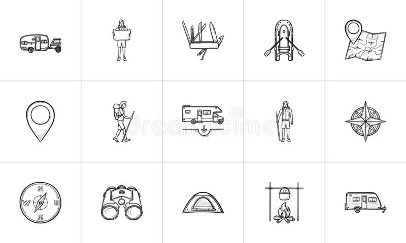 Hiking and camping hand drawn outline doodle icon set. vector illustration
