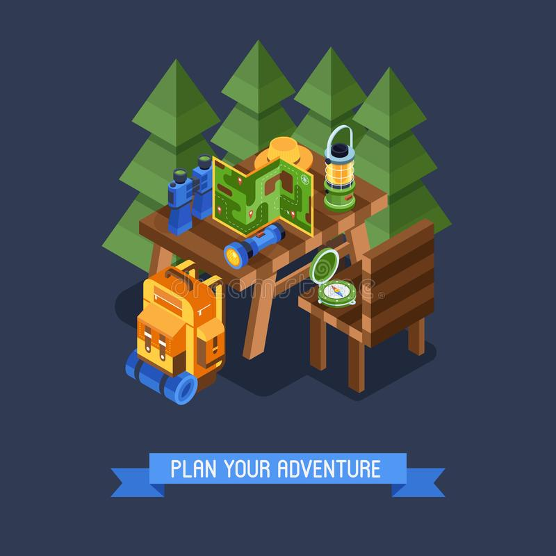 Hiking and Camping Isometric BannerHiking and Camping Isometric Banner royalty free illustration