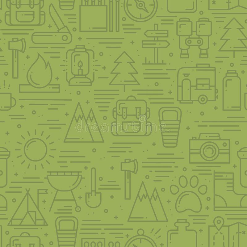Hiking and Camping Seamless Pattern in Line Style. Outdoor Camp Adventure Theme. Vector illustration. Background. Hiking vector illustration