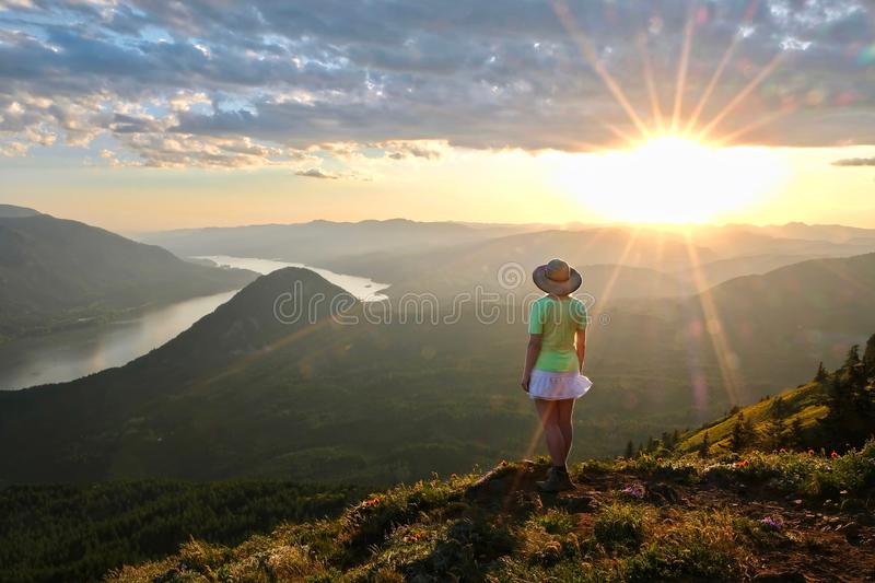 Hiking in Columbia River Gorge in Oregon. royalty free stock photography
