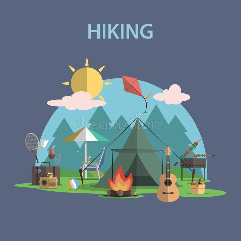 Hiking Concept Flat royalty free illustration